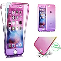 Handytasche für iPhone 7, CESTOR [Ultra-Weiche Clear Silikon] Dual-Layer 360 Grad Luxus Durchsichtig TPU Gradient Farbe Kratzfest Schutzhülle für iPhone 8/7, Pink+Lila
