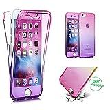 Handytasche für Huawei P20, CESTOR [Ultra-Weiche Clear Silikon] Dual-Layer 360 Grad Luxus Durchsichtig TPU Gradient Farbe Kratzfest Schutzhülle für Huawei P20, Pink+Lila
