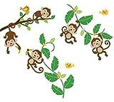 Monkeys Swinging on Vines Giant Peel & Stick Wall Art Sticker Decals by CherryCreek Decals