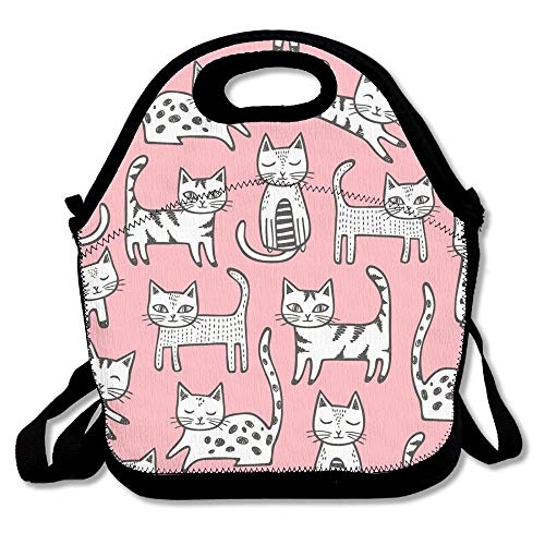 Jacklee Cats with Stripes Pink Lunch Tote Bag Color Picnic Lunchboxen Lunch Tote Insulated Reusable Container Organizer for, Adults, Kids -