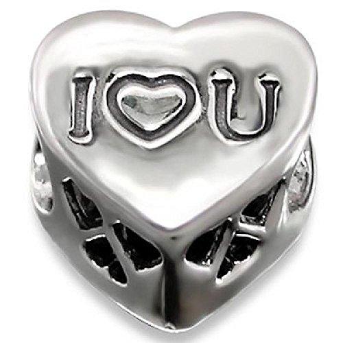 So Chic Schmuck – Charms Ich liebe dich Herz Korn Kristall Sterling Silber 925 – Für Pandora, Trollbeads, Chamilia, Biagi-Schmuck Geeigneter Charms-Anhänger