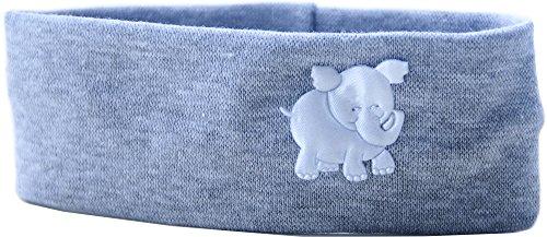 Baby Kinder Haarband Stirnband Hairband Grau mit Elefant festlich sommerlich La Bortini (KU 35-43cm.)