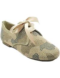Blucher Confetti 121 - Zapato de seraje con apliques brillantes para niña, color camel.