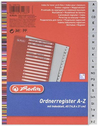Herlitz 10841906 Register A-Z, 14,8 x 21 cm, PP mit Eurolochung, grau