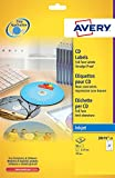 Avery J8676-25 Etichette Opache Full-Face per CD, 2 Pezzi per Foglio, Stampanti Inkjet, 25 Fogli, Diametro 117 mm, Bianco