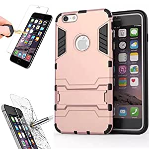 iPhone SE Protective Case with Tempered Glass Screen Protector, Shockproof Bumper Shell with Kickstand For Apple iPhone SE 2016 & iPhone 5S 5 by BOONIX (Rose Gold)