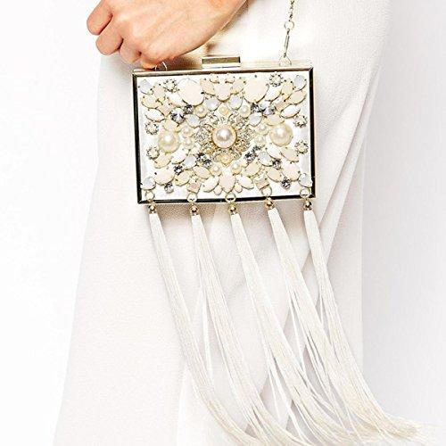 GSHGA Diagonal Clutch Bag Handtaschen Paket Handgemachte Quasten Kleine Quadratische Paket Schulter