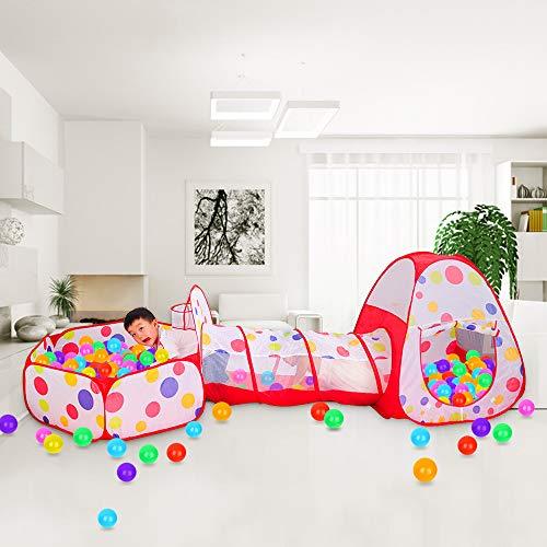 Meigirlxy Tiendas de campaña para niños, Pop Up Tienda de Juegos Plegable con Casita Infantil, Tunel Infantil, Piscina de Bolas (Bolas NO Incluido)