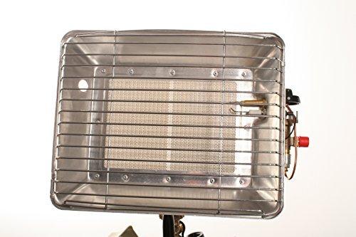 Gasheizstrahler schnell und einfach einsetzbar ! Gasheizstrahler mit Aluminium-Schirm überzeugt mit einer hohen Abstrahl -Leistung inkl. 400 mm langen Gasschlauch und 50 mbar Druckminderer.