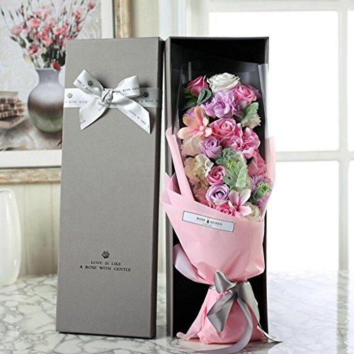 Aoligei 21 Rosen-Seifen-Blumen-Geschenk-Kasten Mutter Tagesgeburtstag Valentinstag-kreatives Geschenk 60*20*12cm