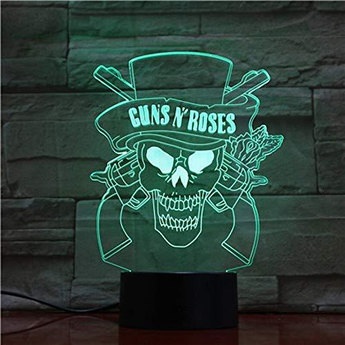 Guns Rose 3D Nachtlicht USB Touch Sensor Innenbeleuchtung Fan Verfügbar GNR Hard Rock Band Logo Led Nachtlichter Baby