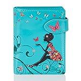 Shagwear Junge-Damen Geldbörse, mädchen geldbeutel Verschiedene Farben und Designs: (Schmetterling Oase Aquamarin/Butterfly Oasis)