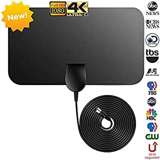 TV Aerial Newest,Firmrock Freeview Indoor TV Aerial,50 Miles Amplified Digital TV Aerial 0.5mm Ultra Thin HDTV DVB-T2 Aerial with 12 FT Long Cable