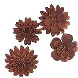 Trauer-Shop Deko Blumen Naturrost Metall. 6,5cm, 7,5cm. 4 Größen, 4 Stück.
