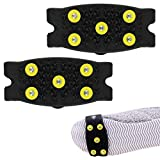 HCFKJ Snow Ice Climbing Anti Slip Spikes Grips Crampon Cleats 5-Stud Shoes Cover