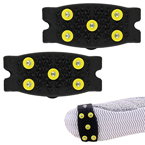 HCFKJ Snow Ice Climbing Anti Slip Spikes Grips Crampon Cleats 5-Stud Shoes Cover Ice Dome