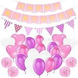 Sundell Geburtstag Party Dekorationen, Happy Birthday Buchstaben Banner Fahnen, Triangle Bunting Flag, 9 Seidenpapier Pompom Balls, 20 Liebesballons, 40 Latex Ballon für Mädchen und Jungen
