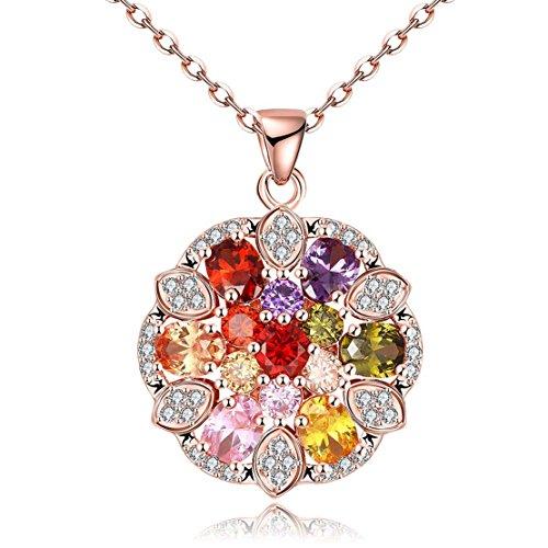 Boomshine Oro 24K Classic Pop colorate pietre zirconi collana catena con pendente rotondo, personalità Plant Pattern Rosa Collana in oro con un regalo per le donne gioielli
