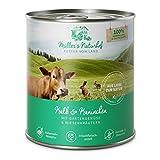 Müllers Naturhof | Kalb und Kaninchen | 30 x 800 g | Nassfutter für alle Hunderassen | getreidefrei und glutenfrei | mit Gartengemüse und Wiesenkräutern | naturnahe Rezeptur mit 65% Fleisch