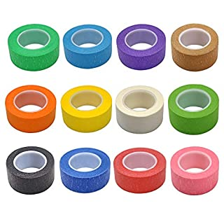 7pièces 2,5cm ruban de masquage ruban adhésif de ruban pour étiqueteuse Graphic Art Tableau Line Rouleau de ruban adhésif pour arts Crafts DIY, couleurs arc-en-ciel
