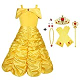 Viclcoon Prinzessin Kostüm Mädchen, Belle Kostüm Kinderkleider Mädchen Tutu Kleid mit Zubehör, Handschuhe, Diadem, Zauberstab und Halskette Ringe, 9 Pcs Set,4-5 Jahre, Gelb, Größe 120cm