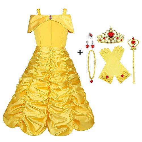 Viclcoon Prinzessin Kostüm Mädchen, Belle Kostüm Kinderkleider Mädchen Tutu Kleid mit Zubehör, Handschuhe, Diadem, Zauberstab und Halskette Ringe, 9 Pcs Set,3-4 Jahre, Gelb, Größe 110cm
