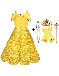 Vicloon - Disfraz de Princesa Elsa/Capa Disfraces/Belle Vestido y Accesorios para Niñas