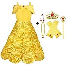 bf39fc60718 Vicloon - Disfraz de Princesa Elsa Capa Disfraces Belle Vestido y  Accesorios para Niñas