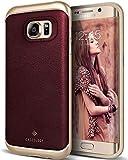 Caseology Galaxy S7 Edge Hülle, [Envoy Serie] Schlanke Luxushülle mit Premium PU Leder Doppelter Schutzschicht [Burgund - Burgundy] für Samsung Galaxy S7 Edge (2016)