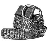 CASPAR Damen Vintage Gürtel mit Strass Steinen und Nieten Teil Leder - viele Farben - GU263, Länge:100;Farbe:dunkelsilber metallic