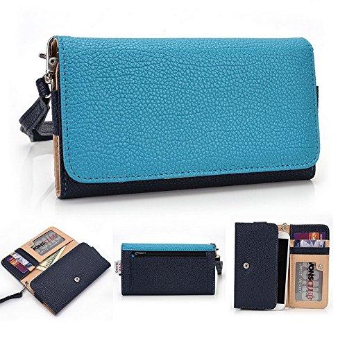 Kroo Pochette Téléphone universel Femme Portefeuille en cuir PU avec dragonne compatible avec LG aka/Magna Multicolore - Violet/motif léopard Bleu - bleu