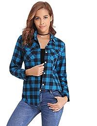 Abollria Womens Casual Long Sleeve Boyfriend Plaid Button Down Flannel Check Shirt Blouse Tops