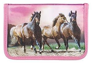 Idena 20051 - Estuche Escolar con lápices Stabilo, 24 Piezas, Caballos, Aprox. 19,5 x 13,2 x 3,5 cm, Multicolor.