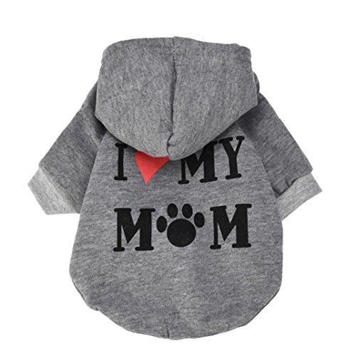 Culater® My Mom Pet Vestiti del Cane per Cani di Piccola Taglia del Cane Caldo Cappotto Giacca Primavera Autunno Giacca Cucciolo Yorkies Chihuahua Vestiti (S, Grigio)
