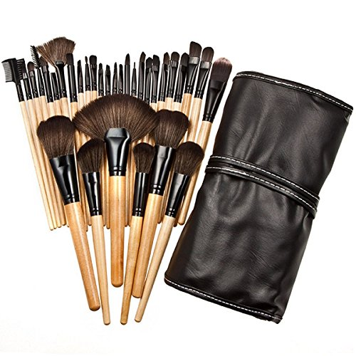 Easydeals 32 Pieces Cosmetic Makeup Brushes Set Natural Professional Brushes set with Bamboo Handle design + Rolling/Foldable Pouch Case