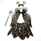 LUOEM Déguisement Fée Enfant Costume Papillon Fille 3-8 Ans Ailes de Fée Baguette Magique Etoile Serre Tête et Jupe Tutu 4 Pièces