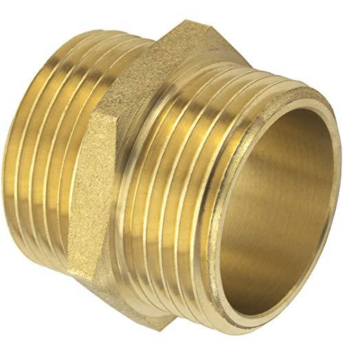 Premium 3/4\'\' Doppelnippel beidseitiges Außengewinde aus hochwertigem Messing robust und rostfrei Anschlussnippel Rohrstutzen