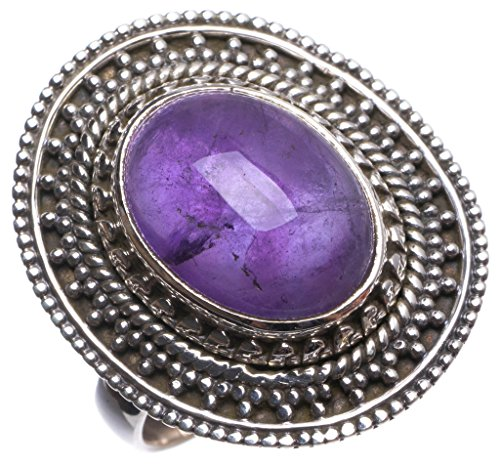Versprechen Set Krone Ring (stargems (TM) Natürliche Amethyst handgefertigten mexikanischen 925Sterling Silber Ring, UK Größe N 1/2)