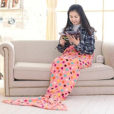 Sirena coda coperta, morbido pile aria condizionata coperta da divano coperta coperta tempo libero, Pile, Pink + Dot, S for kid: 51.2'' * 27.6'' - Sleepover Dots