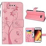 Samsung Galaxy A520 Funda, EUDTH Funda de cuero PU de, protector de Funda de cuero premium PU con modo de lectura para Samsung Galaxy A520 - Pink