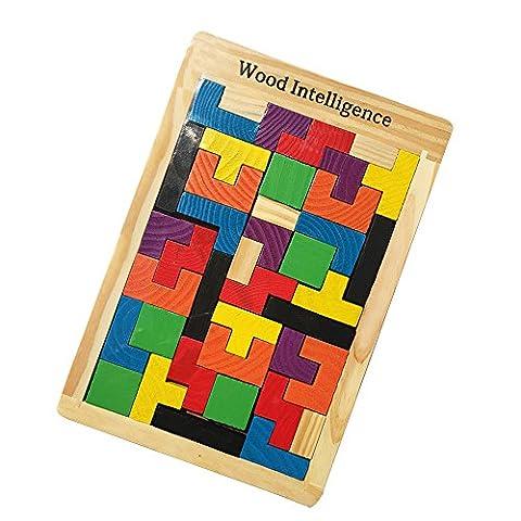 40 morceaux de bois Tangram Jigsaw Building Blocks Jeu Tetris Puzzle Toy Triage Conseil Cadeau éducatif coloré
