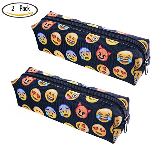 SNNplapla Emoji Pencil Pen Case Pouch Bag with Zipper for Girls,Kids,School Student Staionery Office Supplies,Black,Set of 2