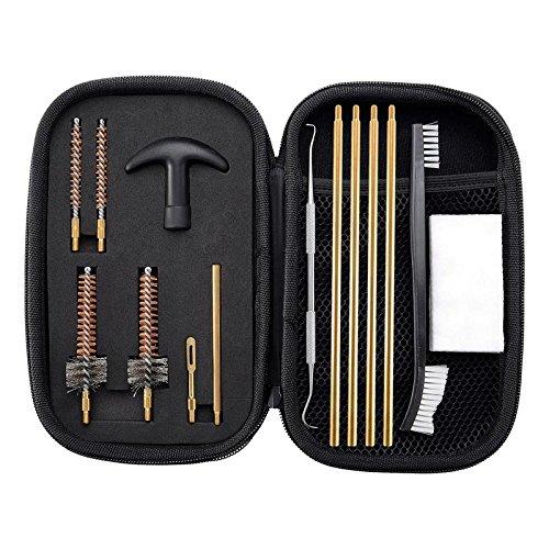 BOOSTEADY Pro .223/5.56 Gewehr Pistolen Reinigungsset mit Bohrkammerbürsten Reinigungs-Pick-Kit, Messing-Reinigungsstäbchen mit Reißverschluss-Tasche