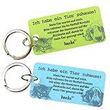 Haustier Notfallkarte aus hochwertigen PVC zum Schutz Ihrer Haustiere bei Abwesenheit - Emergency Card - blau/grün mit Schlüsselring