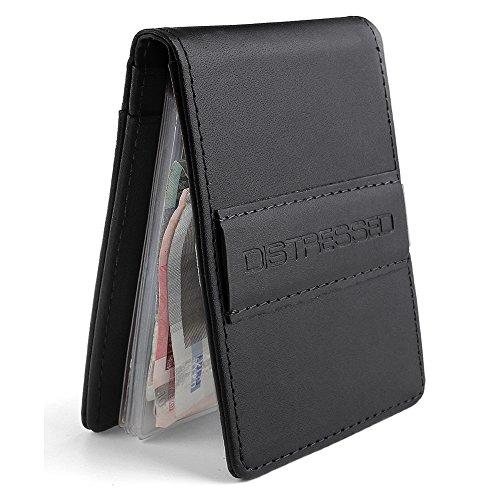 Distressed - Kreditkartenetui mit Edelstahl Geldklammer/Geldscheinklammer +10 KlarsichtfŠcher (schwarz)