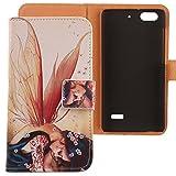 Lankashi PU Flip Leder Tasche Hülle Case Cover Schutz Handy Etui Skin Für Huawei G Play Mini (Honor 4C 5