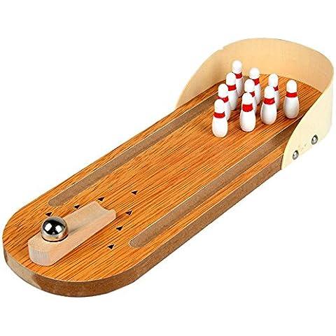 Juguete de bolos de escritorio - SODIAL(R)mini juguete de bolos de escritorio de madera con diez bolera de metal