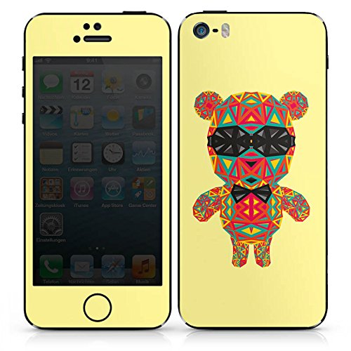 Apple iPhone SE Case Skin Sticker aus Vinyl-Folie Aufkleber Geometric Bear Bär Sonnenbrille DesignSkins® glänzend
