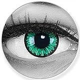 Verde delle lenti a contatto colorate Green Flower + contenitore di Funnylens, morbide, non corrette, in confezione da due: perfetto per Halloween, Carnevale, o carnevale