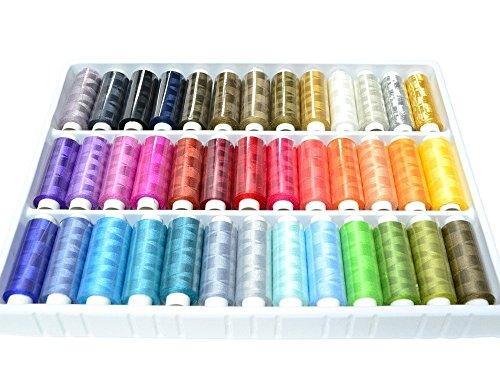 39 Spulen von 250 Metern Bunte Farben 100% Polyesterr, Nähgarn - Farbig sortiert [version:x8.1] by DELIAWINTERFEL (Spool Knitting Machine)